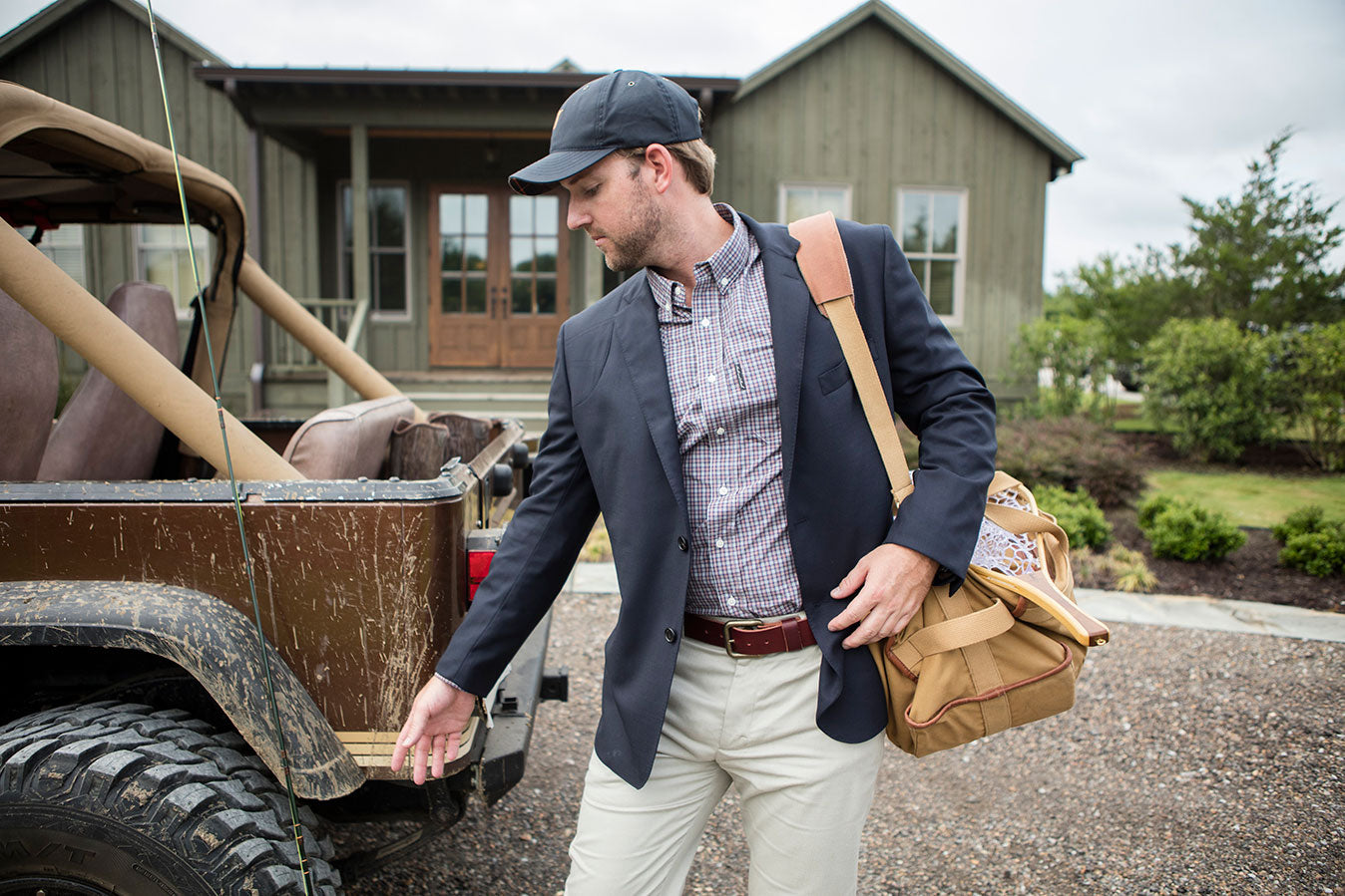 The Hunters Shirt, Bennett with Pocket | The Sportsmans Blazer | Premium Waxed Cotton Hat, Navy, Signature Plaid | The Last Belt You'll Ever Buy, Latigo | Expedition Duffel Bag, Signature Leather/Signature Duck