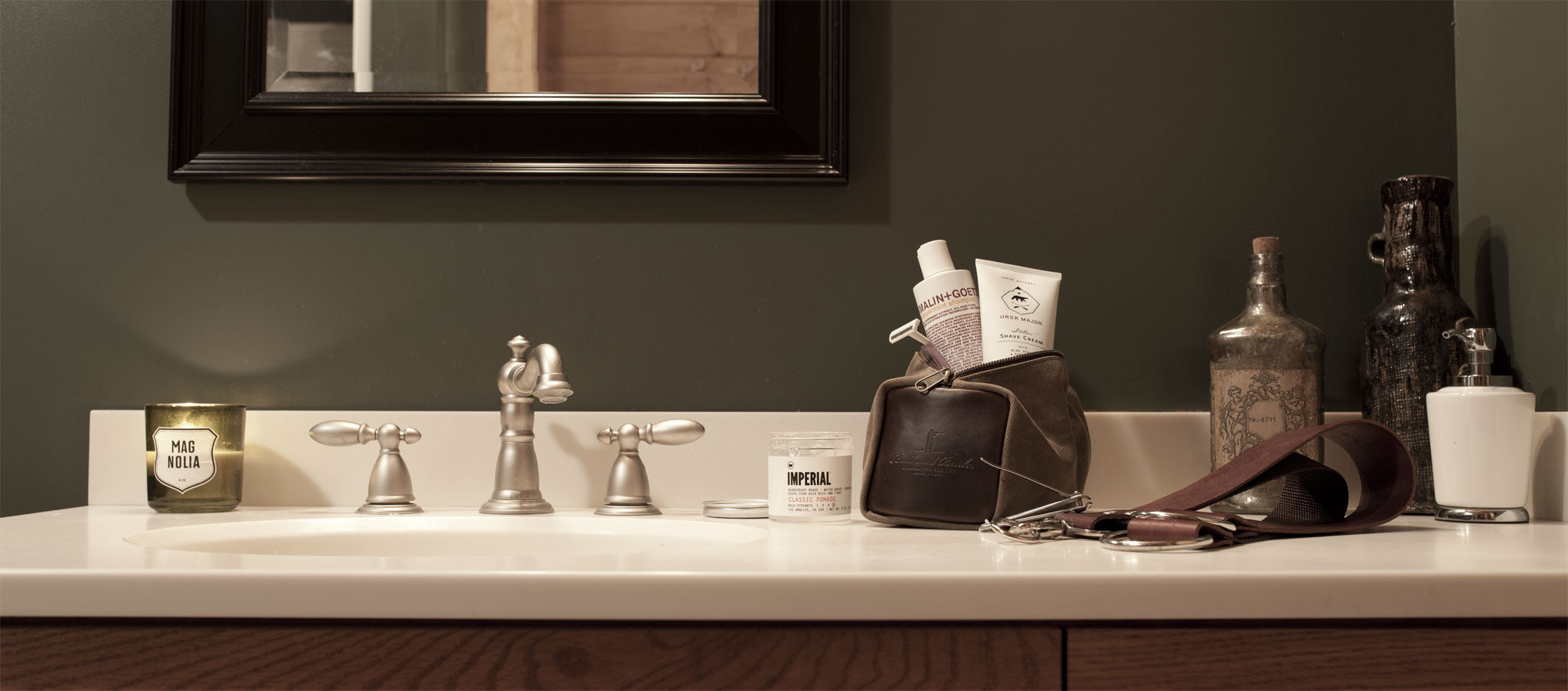 Waxed Canvas Dopp Kit by Ball and Buck | Bathroom Lifestyle 01