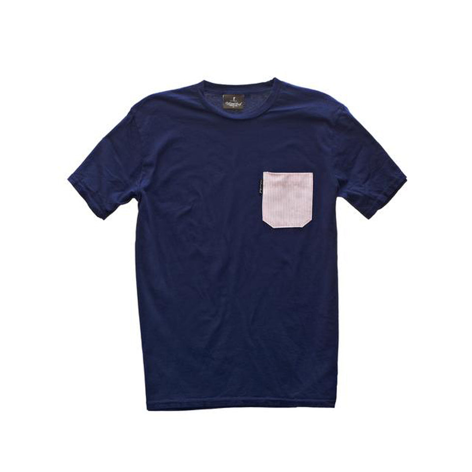 5oz Pocket Tee - Navy/Red Stripe