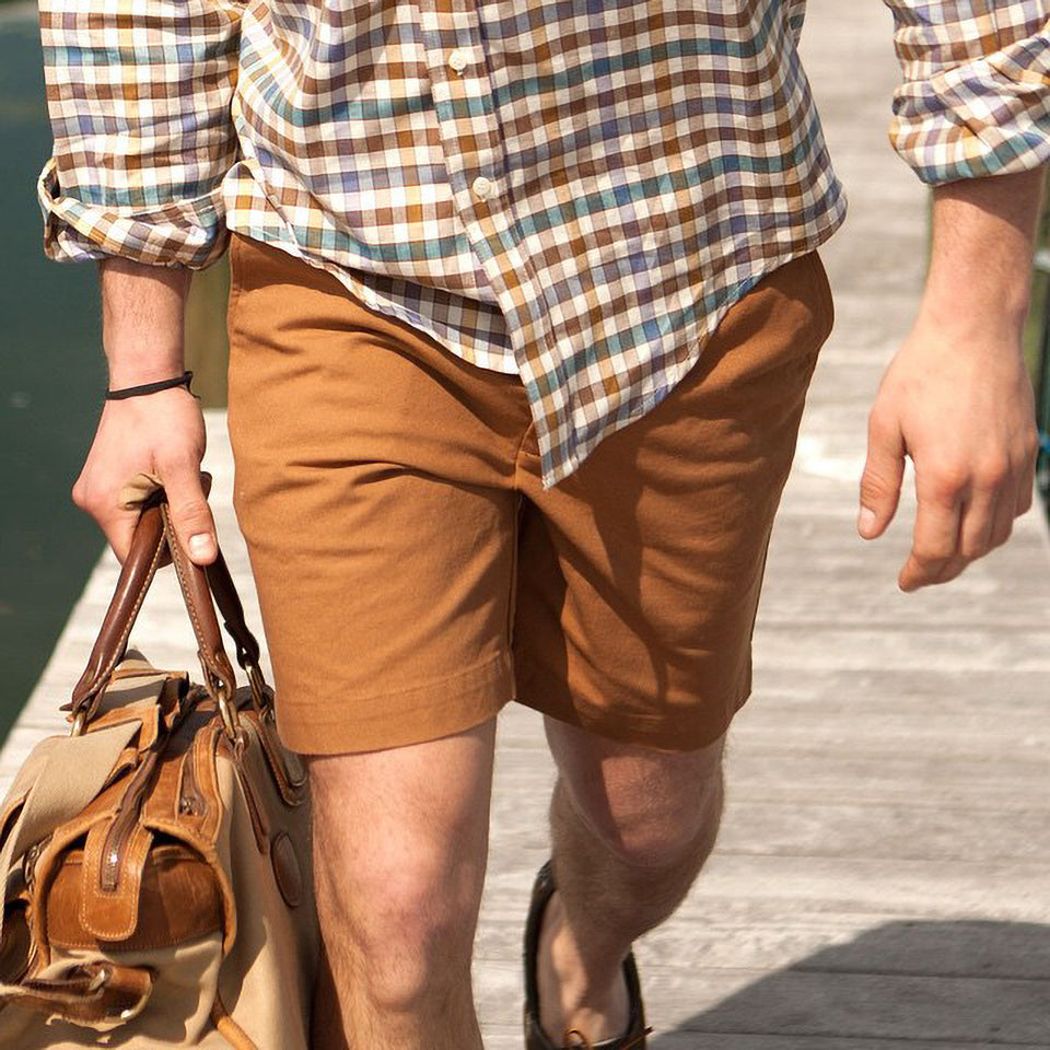 6 Point Washed Duck Cotton Short - Caramel - Ball and Buck