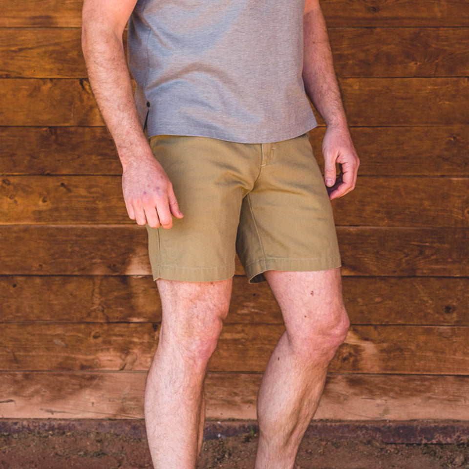 6 Point Washed Duck Cotton Short - Khaki - Ball and Buck