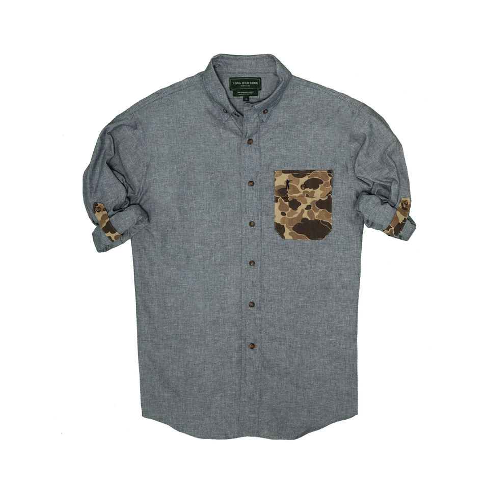Anglers Shirt - Chambray/Camo - Ball and Buck
