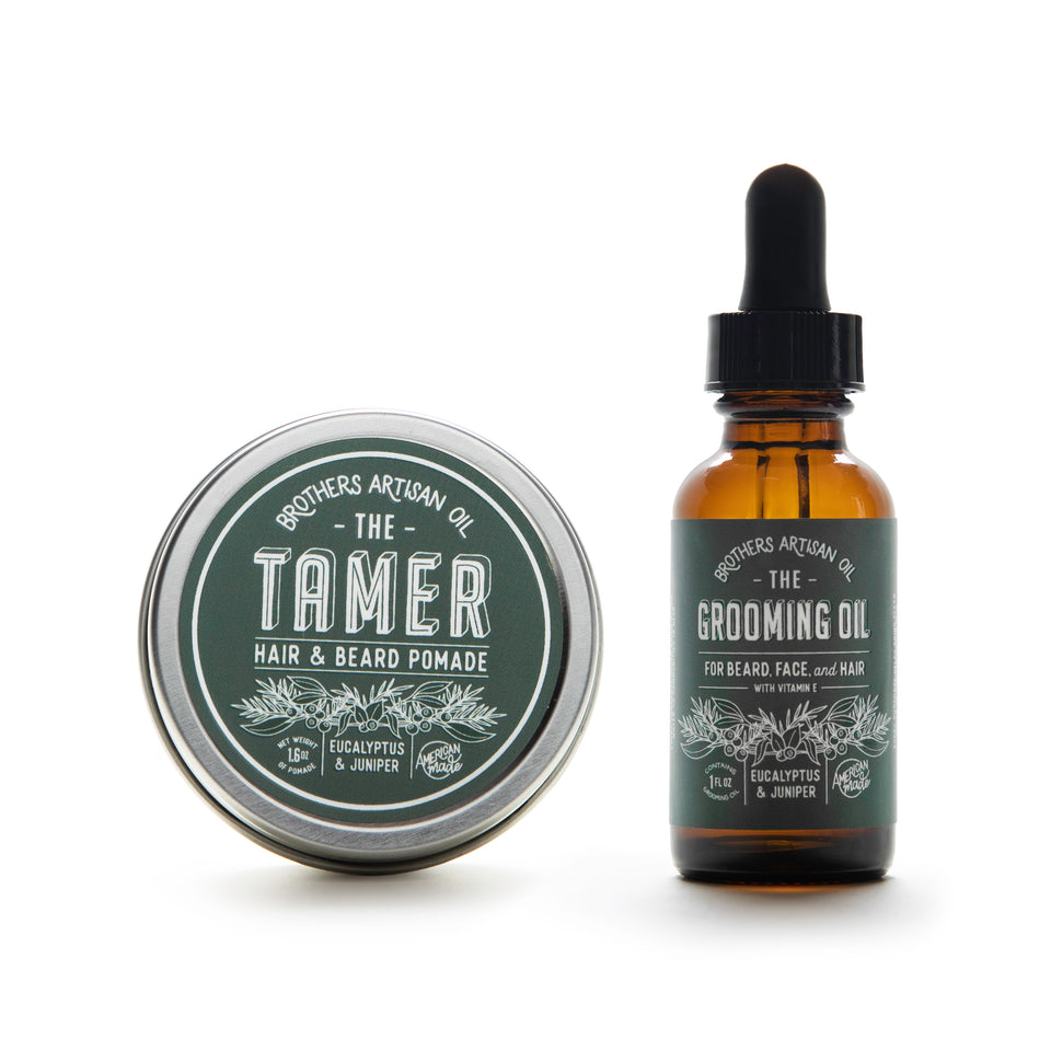 Brothers Artisan Oil - Eucalyptus & Juniper Beard Oil and Tamer - Ball and Buck