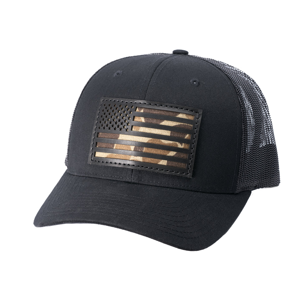 The Camo Flag Snapback - Black/Original Camo - Ball and Buck