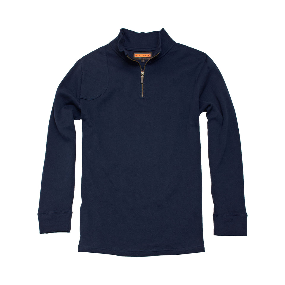 Cotton Quarter Zip Pullover - Dark Sapphire - Ball and Buck