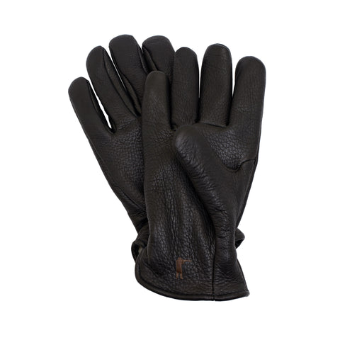 Deerskin Leather Gloves Pile Lined - Black - featured image