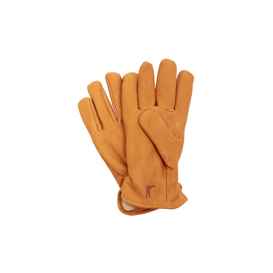 Deerskin Leather Gloves Pile Lined, Saddle - Ball and Buck
