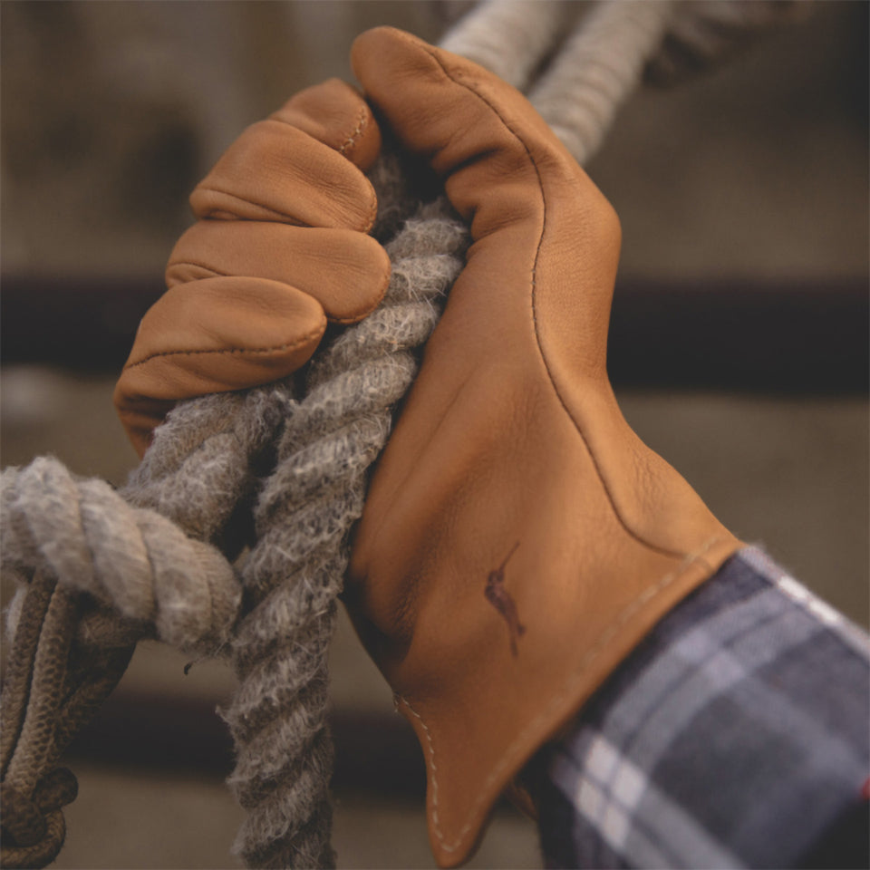 Deerskin Leather Gloves Unlined - Saddle - Ball and Buck