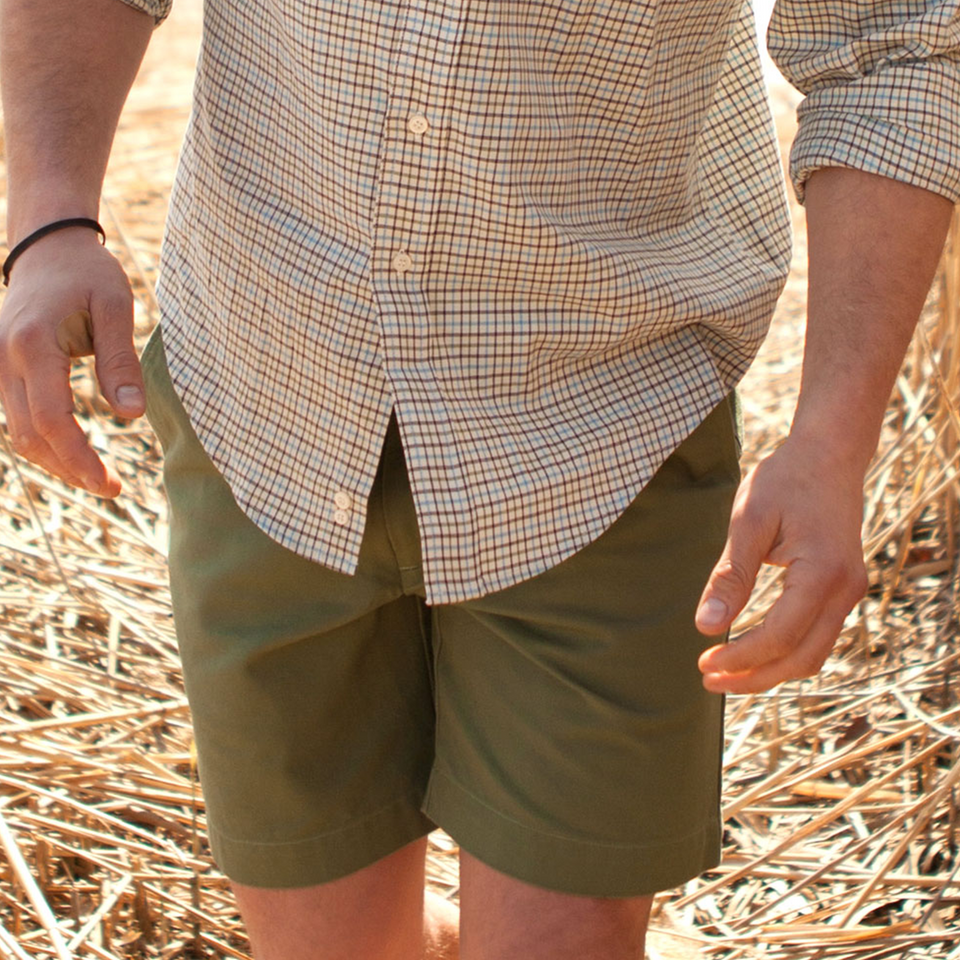 6 Point Short Chino Twill - Moss - Ball and Buck