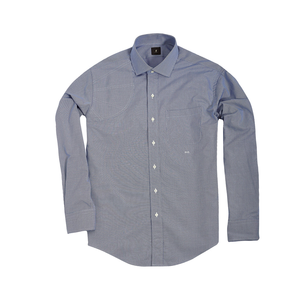 Hunters Dress Shirt - Blue Houndstooth