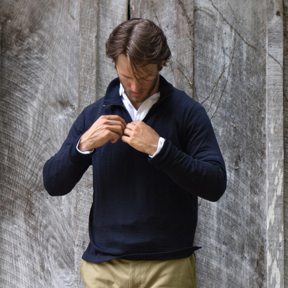 Lightweight Merino Quarter-Zip Sweater - Navy - Ball and Buck