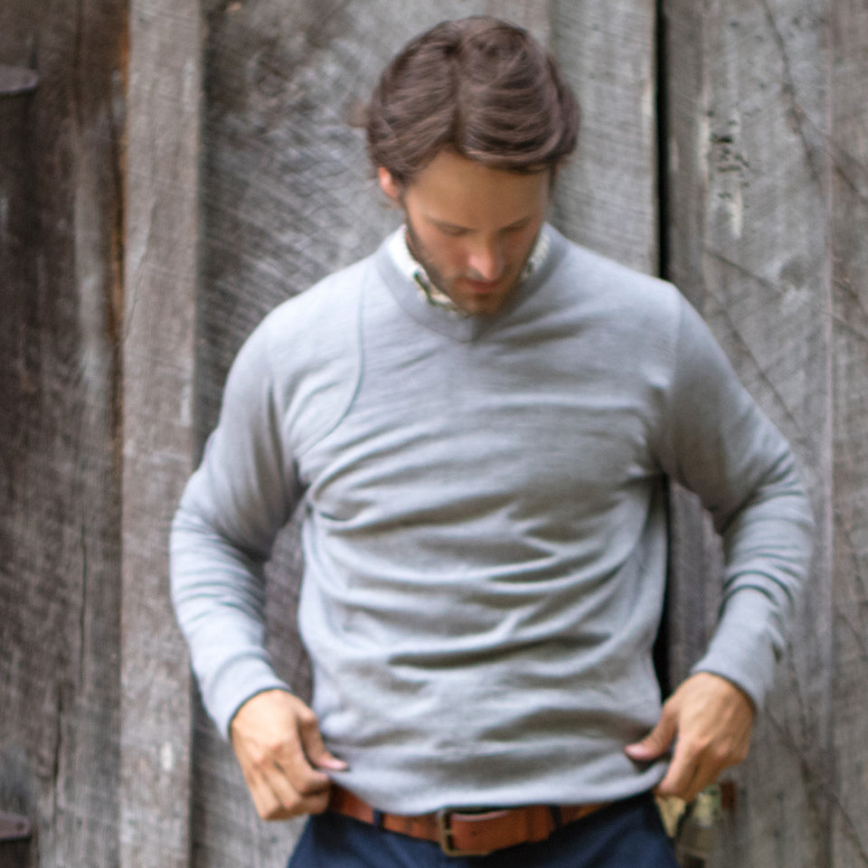 Lightweight Merino V-Neck Sweater - Grey - Ball and Buck