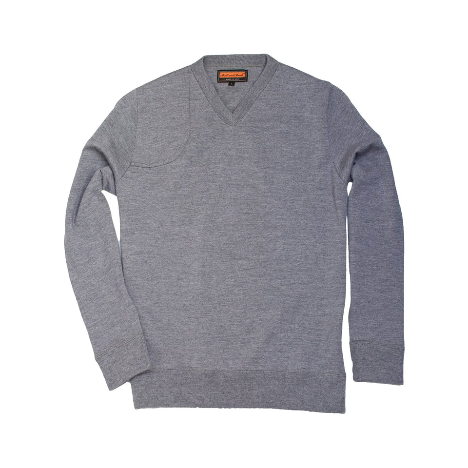 Lightweight Merino V-Neck Sweater - Grey