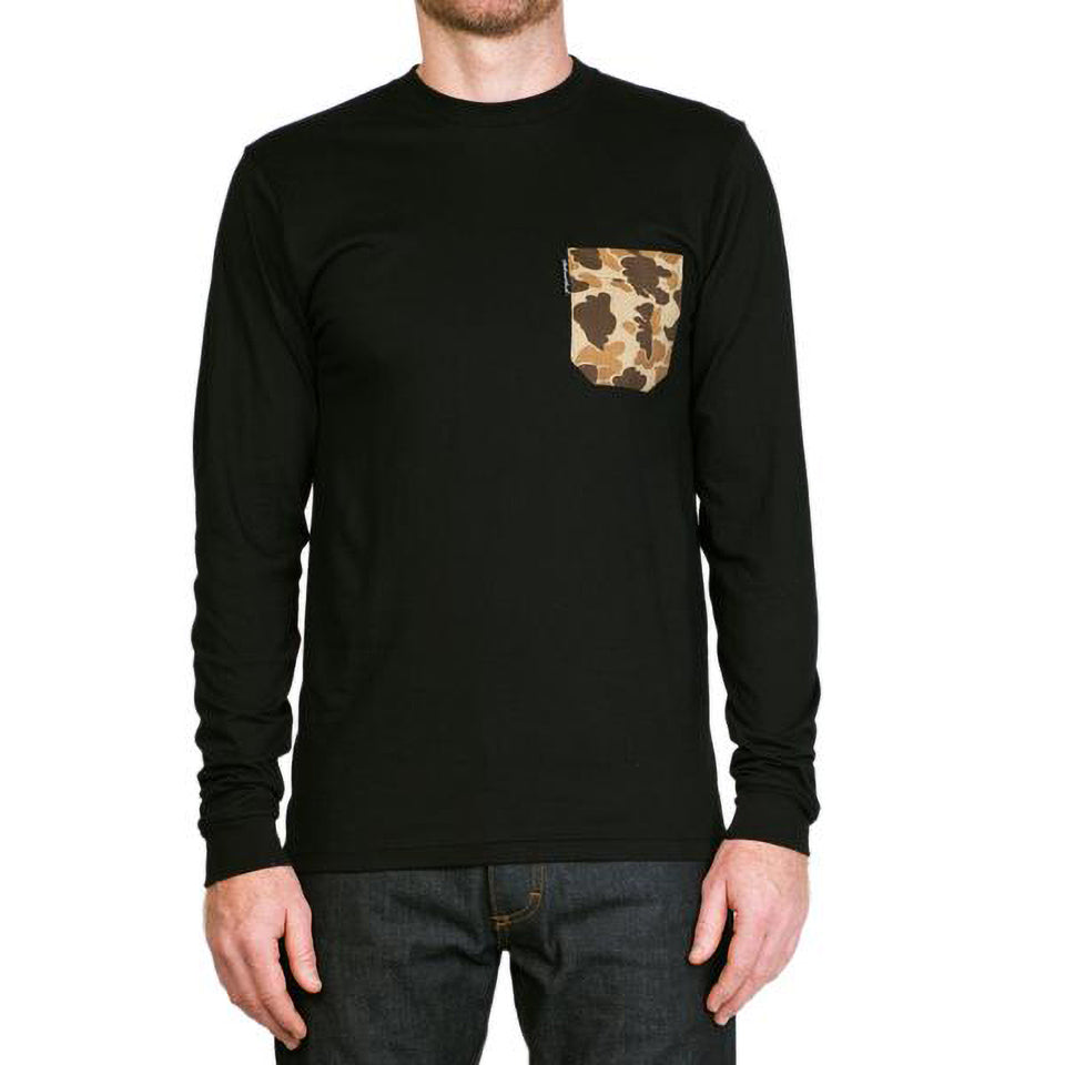 Long-Sleeve Pocket Tee - Black/Signature Camo - Ball and Buck