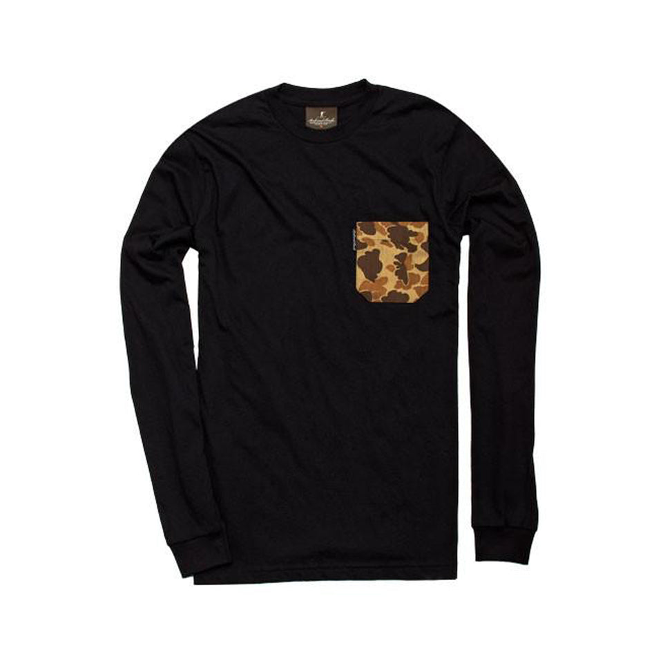 Long-Sleeve Pocket Tee - Black/Signature Camo