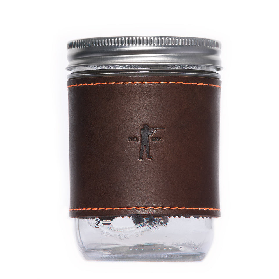 Leather Mason Jar Sleeve - Brown - Ball and Buck