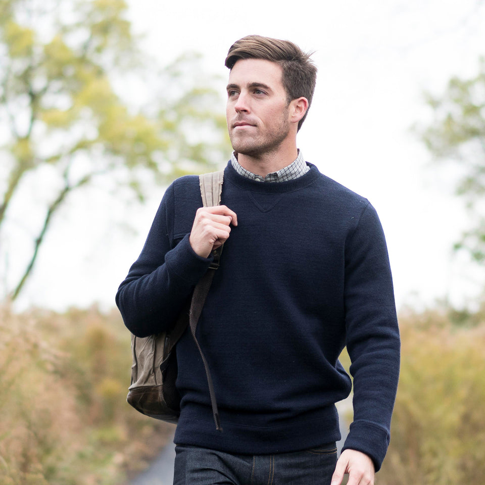 Merino Crewneck Sweater - Navy - Ball and Buck