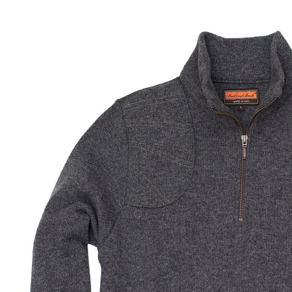 Merino Quarter Zip Sweater - Charcoal - Ball and Buck