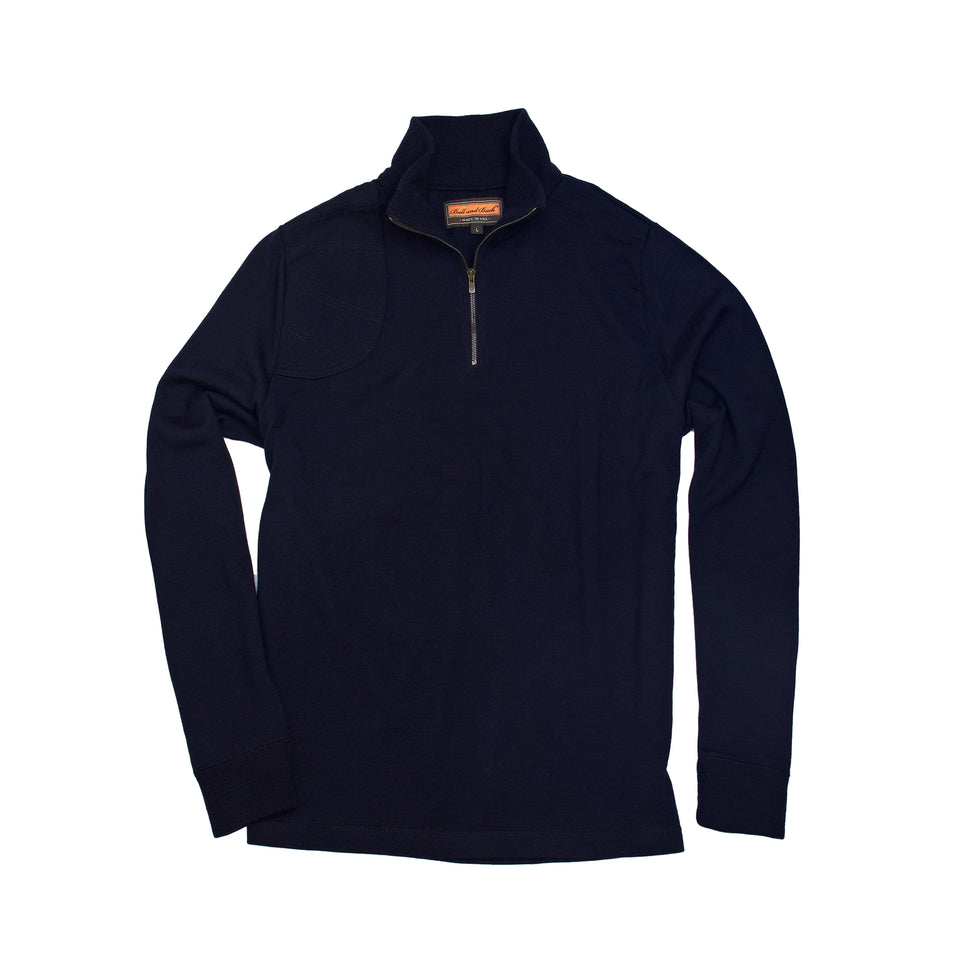Merino Quarter Zip Sweater - Navy - Ball and Buck