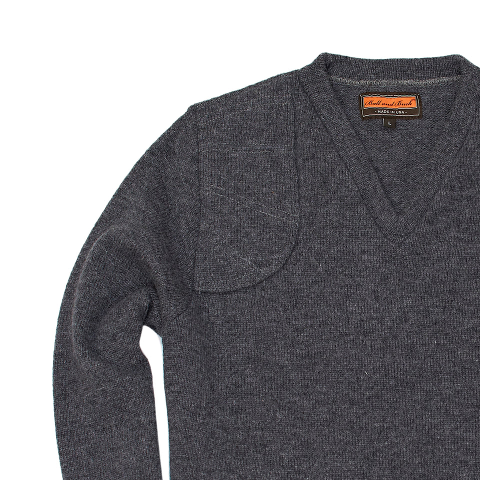 Merino V-Neck Pullover, Charcoal - Ball and Buck