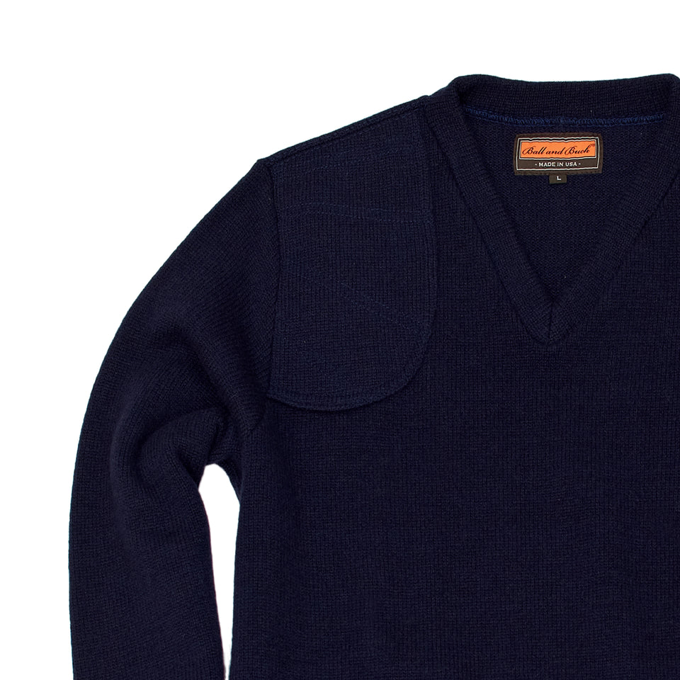 Merino V-Neck Pullover, Navy - Ball and Buck