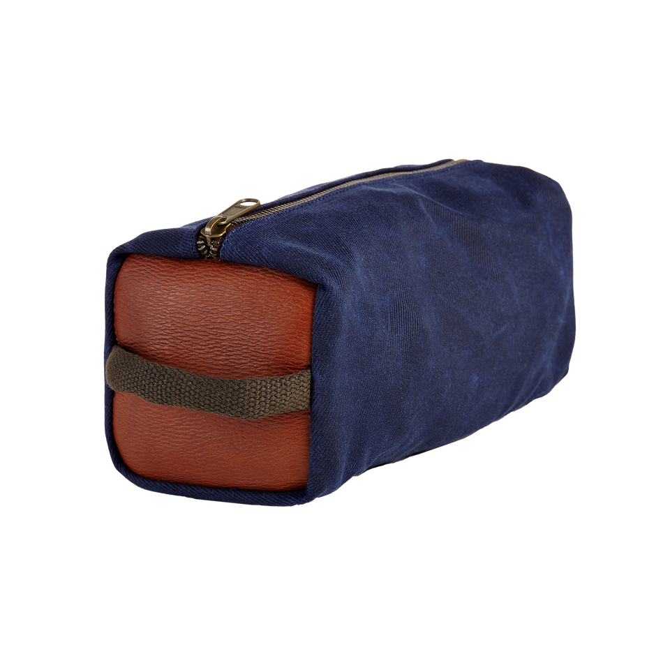 Dopp Kit - Navy Waxed Canvas