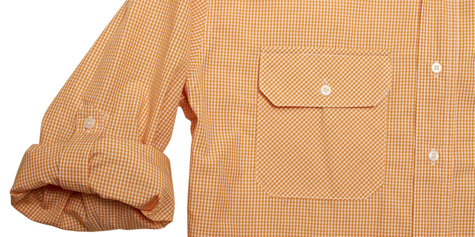 The Anglers Shirt, Orange Roughy Gingham - Ball and Buck