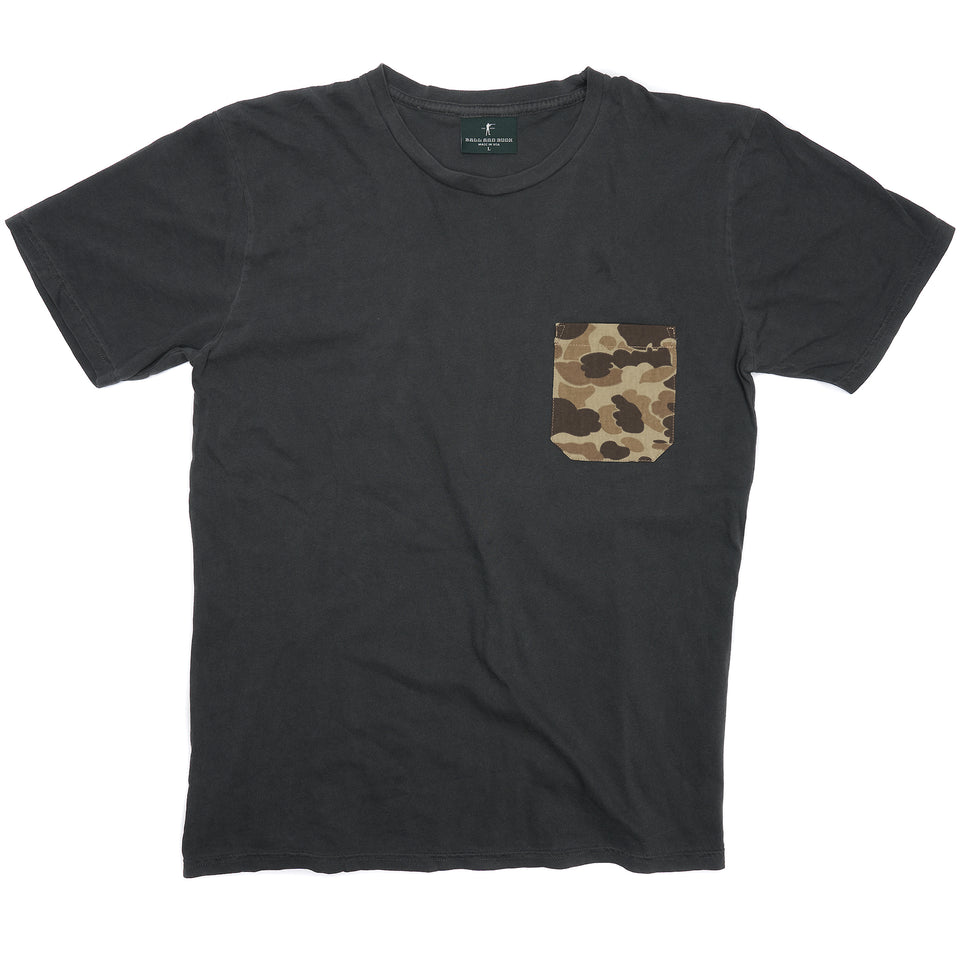 100% Cotton Pocket Tee - Charcoal/Original Camo - Ball and Buck