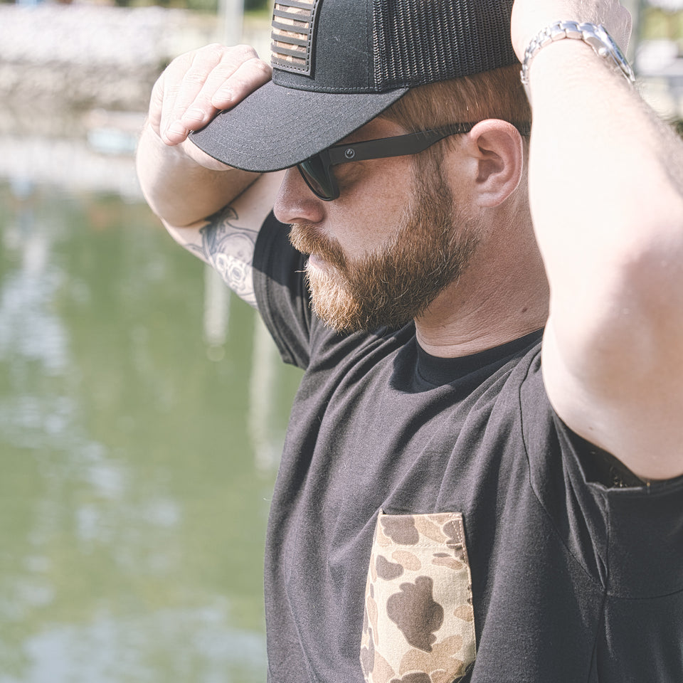 100% Cotton Pocket Tee - Black/Original Camo - Ball and Buck