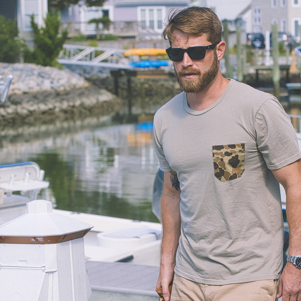 Pocket Tee - Tan/Original Camo - Ball and Buck