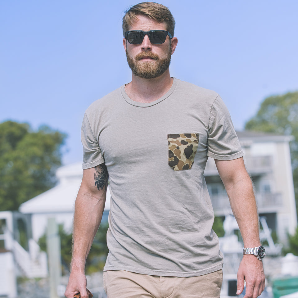 100% Cotton Pocket Tee - Tan/Original Camo - Ball and Buck