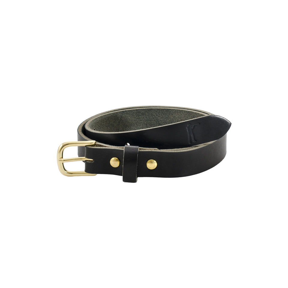 "Premium Leather Belt - 1"" Black - Ball and Buck"