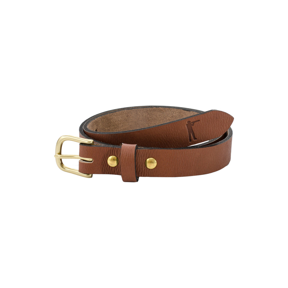 "Premium Leather Belt - 1"" Signature Leather - Ball and Buck"