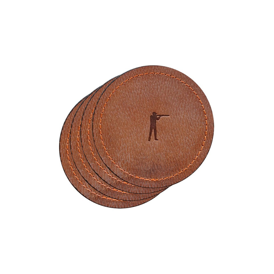 Roger Signature Leather Coaster (Set of 4) - Ball and Buck