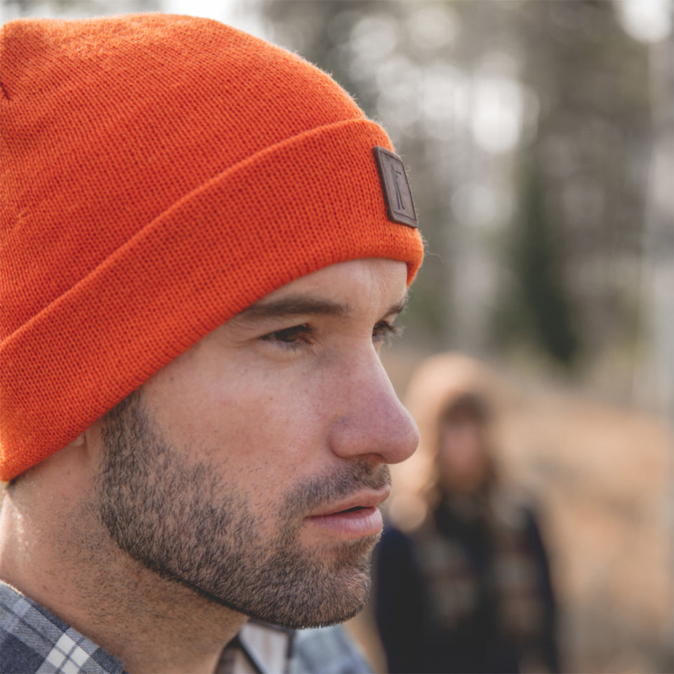 Roger Knit Hat - Blaze Orange Wool - Ball and Buck