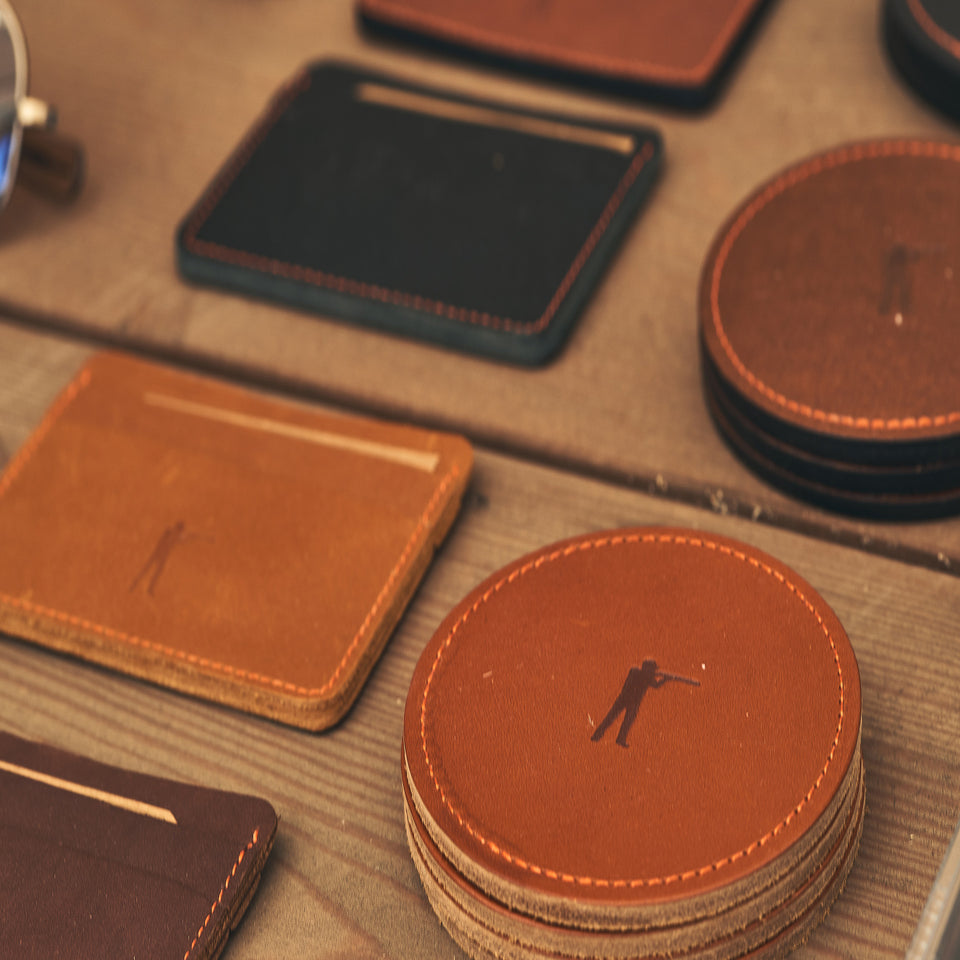 Roger Leather Coaster Set (4 colors) - Ball and Buck