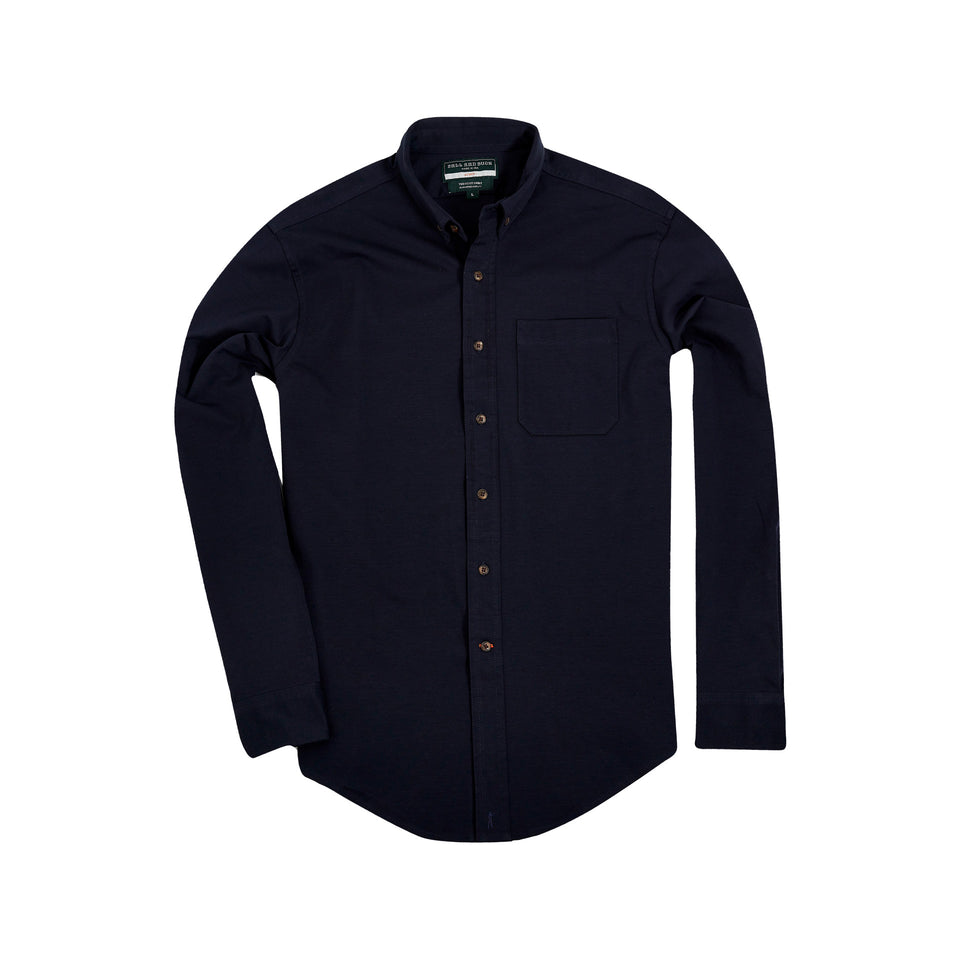 Scout Shirt w/ Pocket +, Navy Coolmax - Ball and Buck