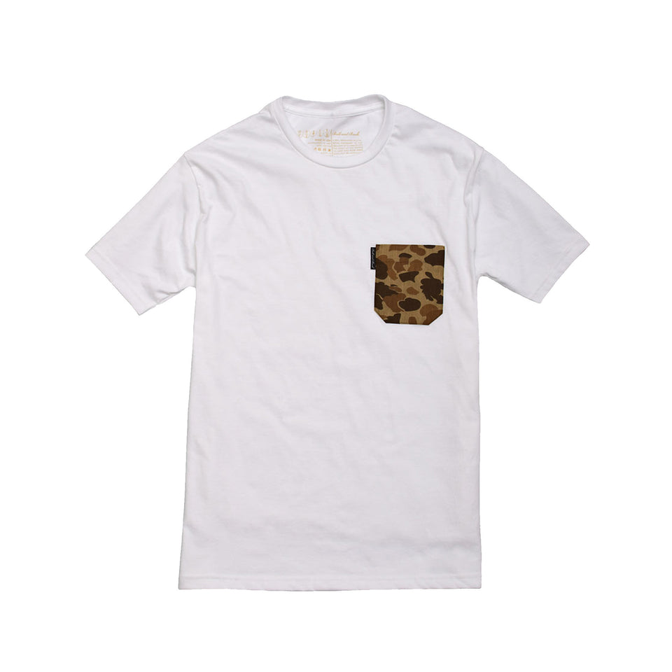 5oz Pocket Tee - White / Original Camo - Ball and Buck
