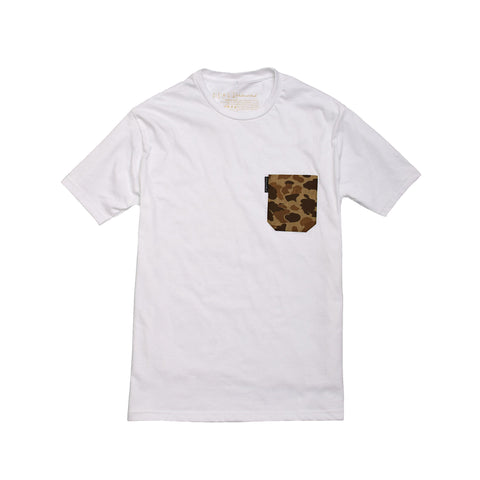 The 5oz Pocket Tee, White / Signature Camo