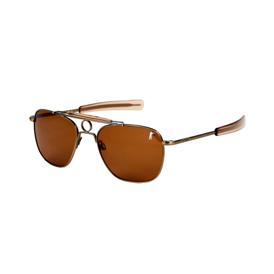 Anglers Sunglasses - Antique Brass / Tan Polarized - Ball and Buck