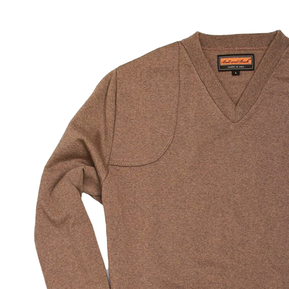 Lightweight Merino V-Neck Sweater - Tan - Ball and Buck