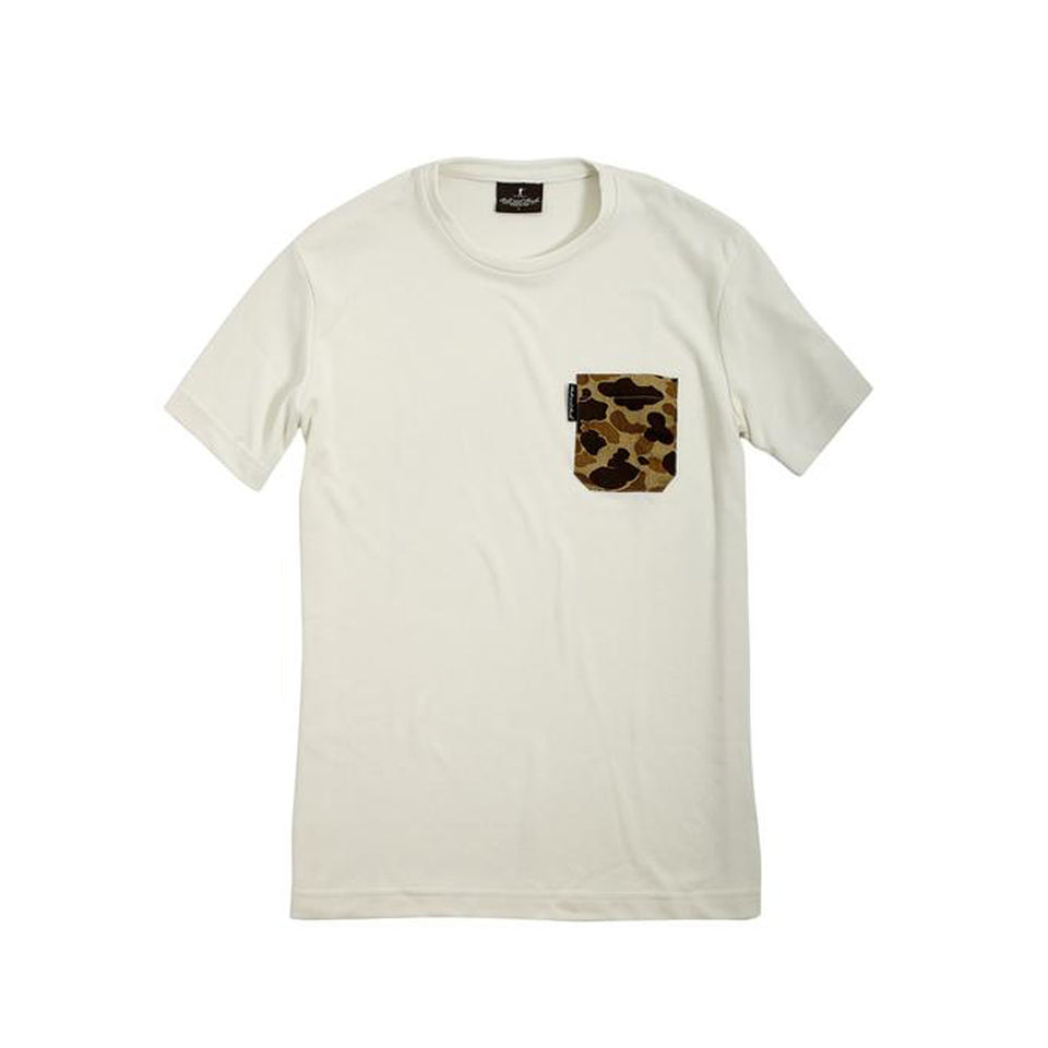 Pocket Tee+ White/Original Camo - Ball and Buck