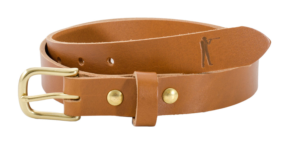 "Premium Leather Belt - 1"" Tan - Ball and Buck"