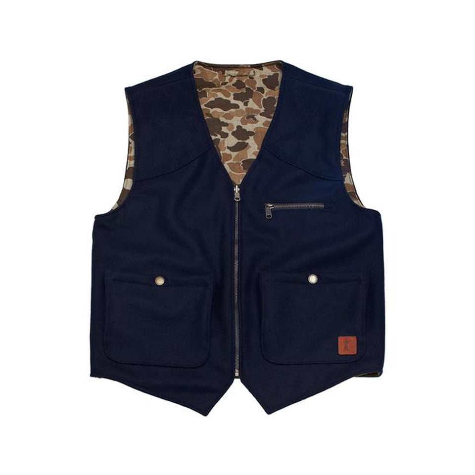Upland Vest - Navy Wool / Sig. Camo Reversible - Ball and Buck