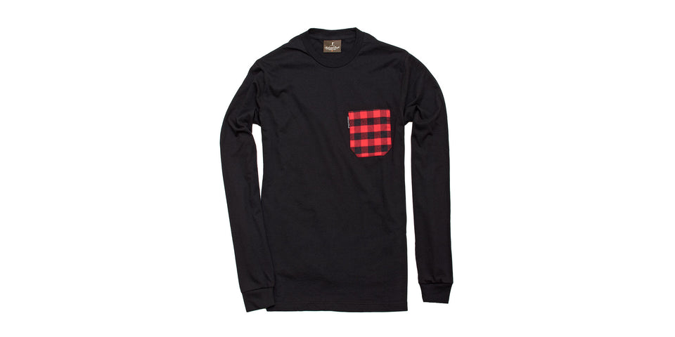Long Sleeve Pocket Tee - Black/Buffalo - Ball and Buck