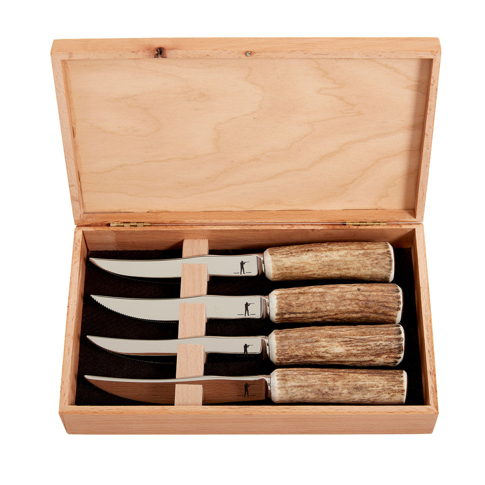 Stamped Steak Knives w/Crown Handles in Wood Box (Set of 4) - Ball and Buck