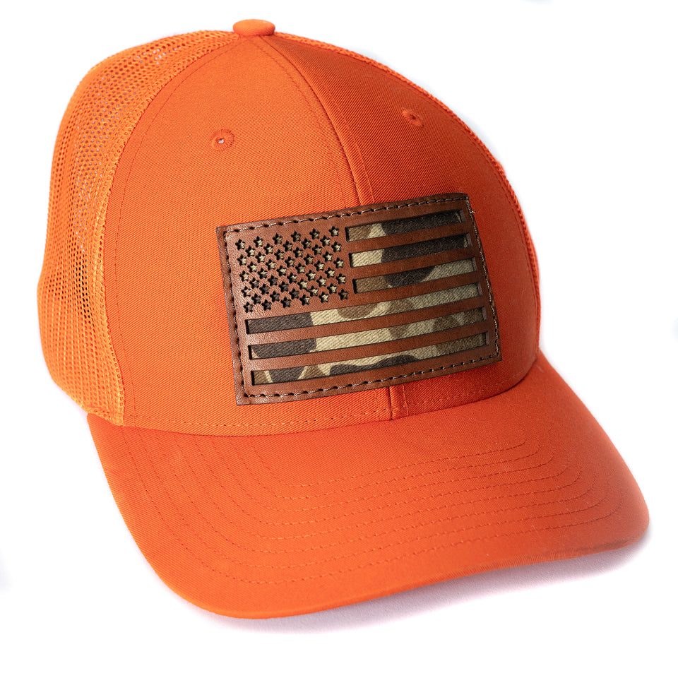 The Camo Flag Snapback - Blaze Orange/Original Camo - Ball and Buck