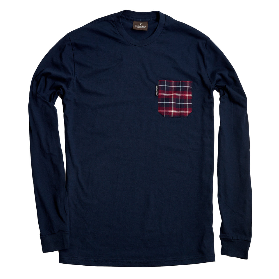 Long Sleeve Pocket Tee - Navy/Burnett - Ball and Buck