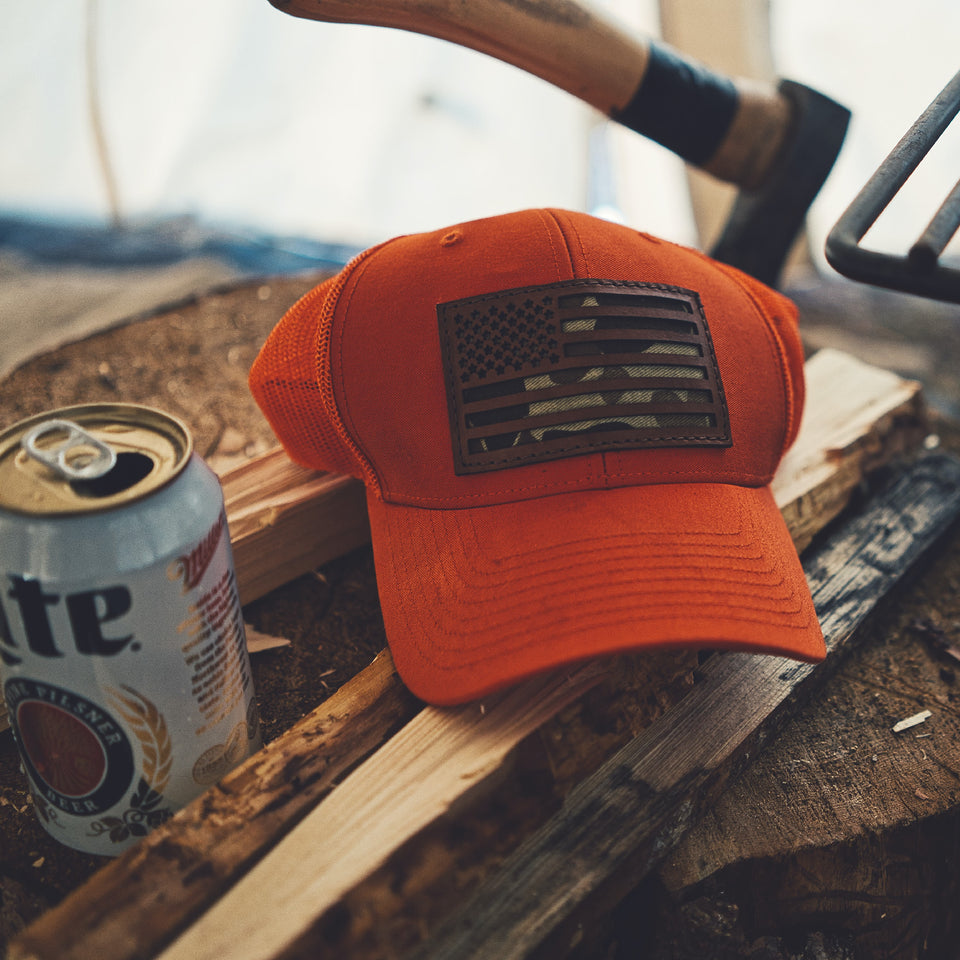 The Camo Flag Snapback - Blaze Orange/Original Camo