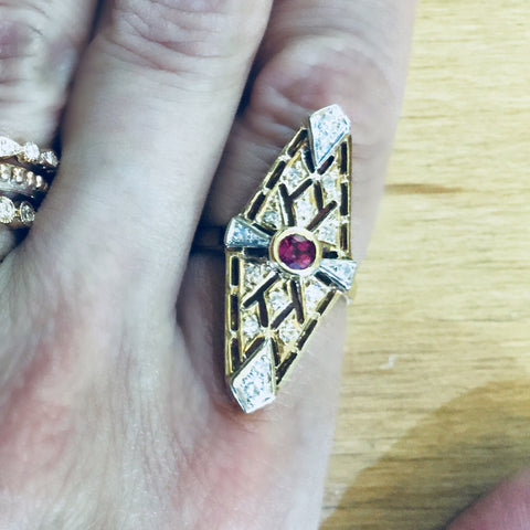 Vintage Art Deco Ruby Ring